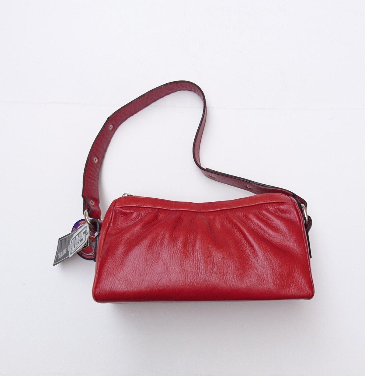 Γυναικεία τσντα ώμου δέρμα 55821 κόκκινο