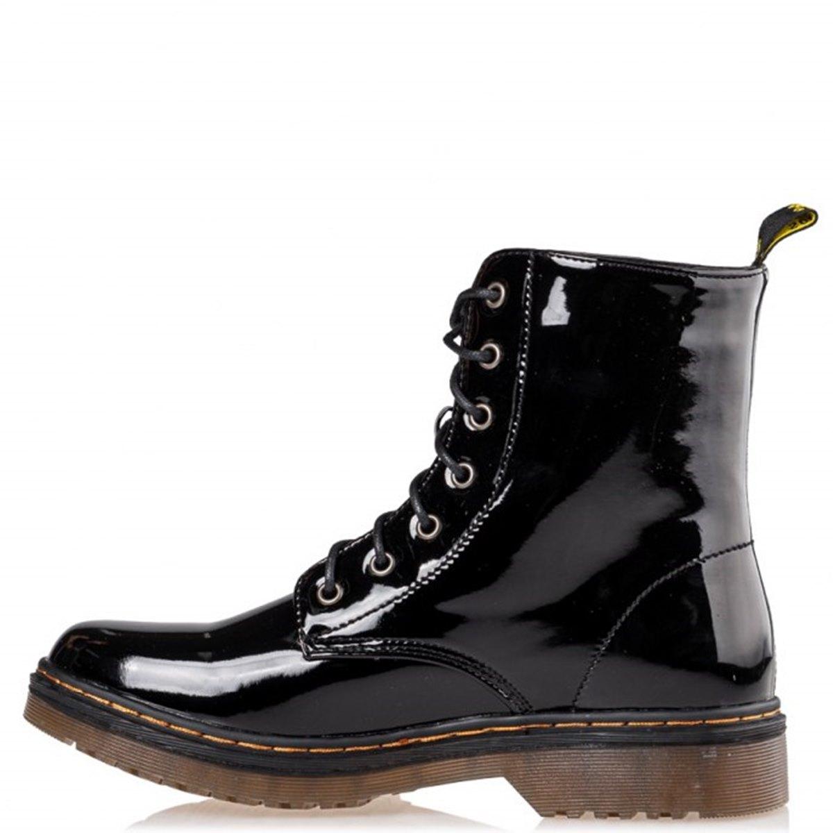 COMBAT BOOTIES Miss NV αρβυλάκια φλάτ V15-12954 black βερνί