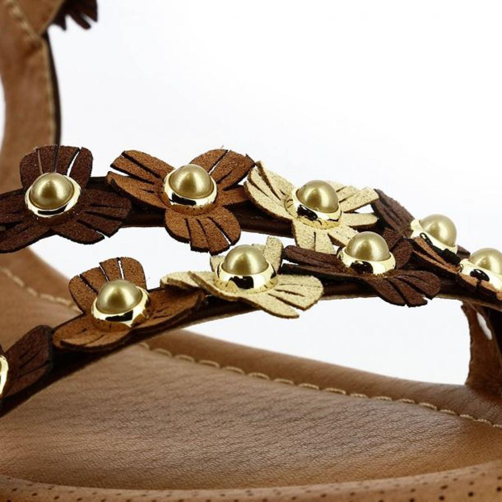 Γυναικεία Σανδάλια Με Λουλούδια Parex 11519022.Κ ΚΑΦΕ