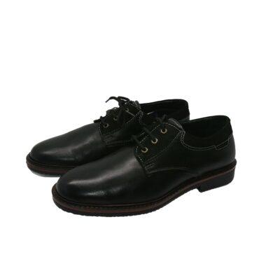 Ανδρικά παπούτσια δετά Cabrini K5.M Γνήσιο δέρμα, μαύρο.