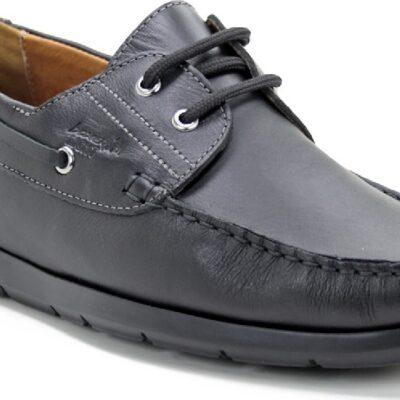 Boxer 21195 14-111 Δερμάτινα Ανδρικά Boat Shoes Μαύρα